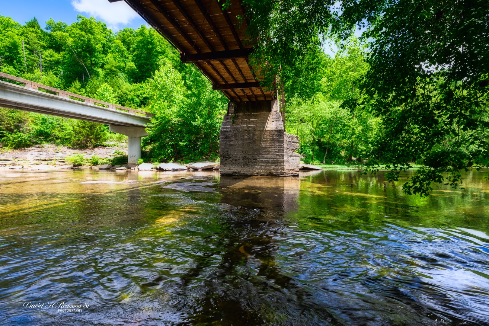 Clear Creek flowing under the bridges