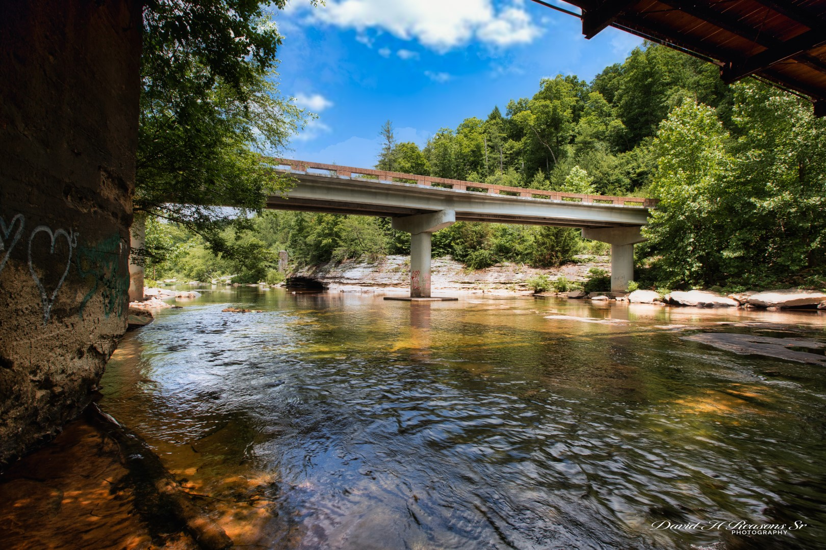 View downstream from under the old Honey Creek Bridge