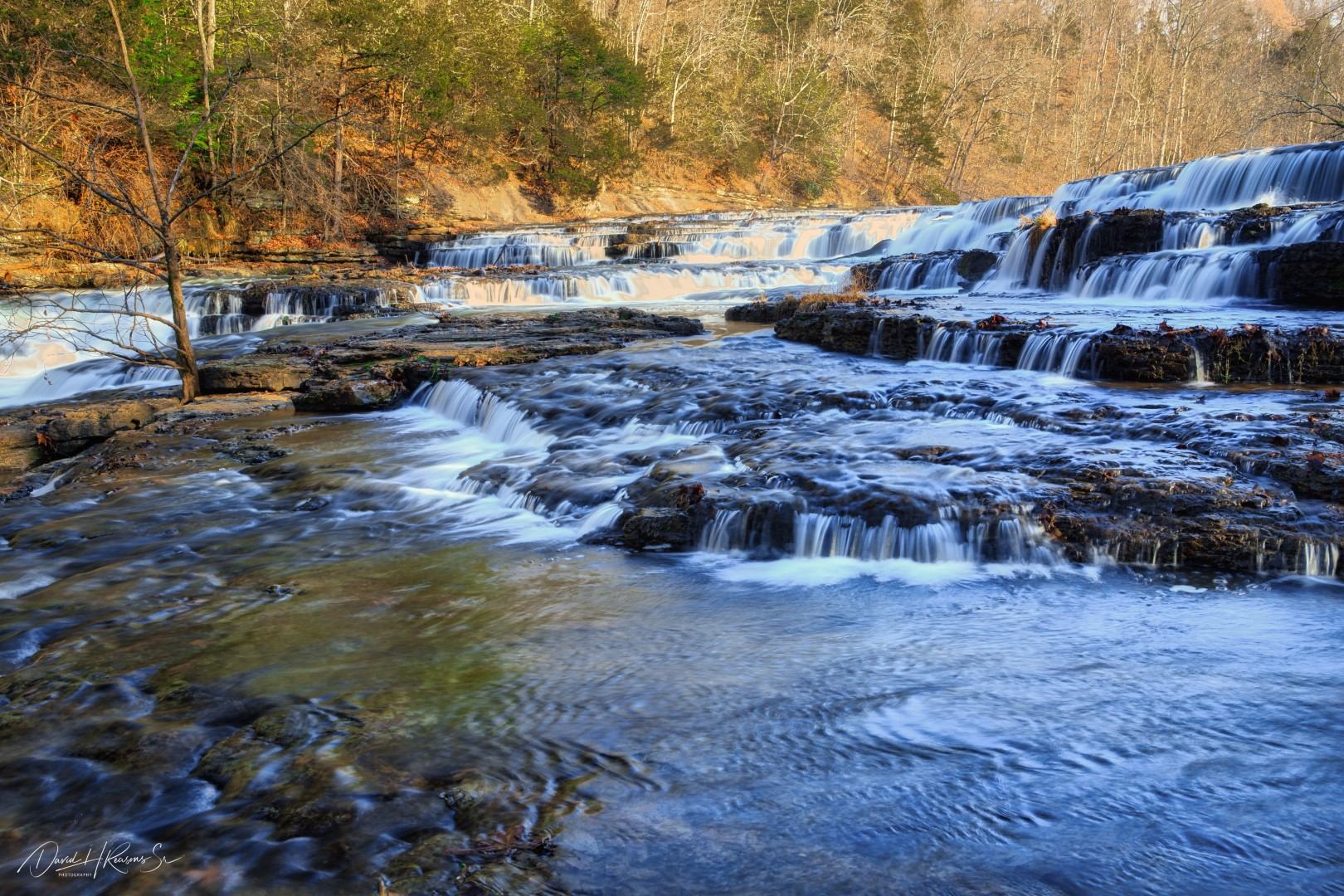 Another view of the cascades at Burgess Falls