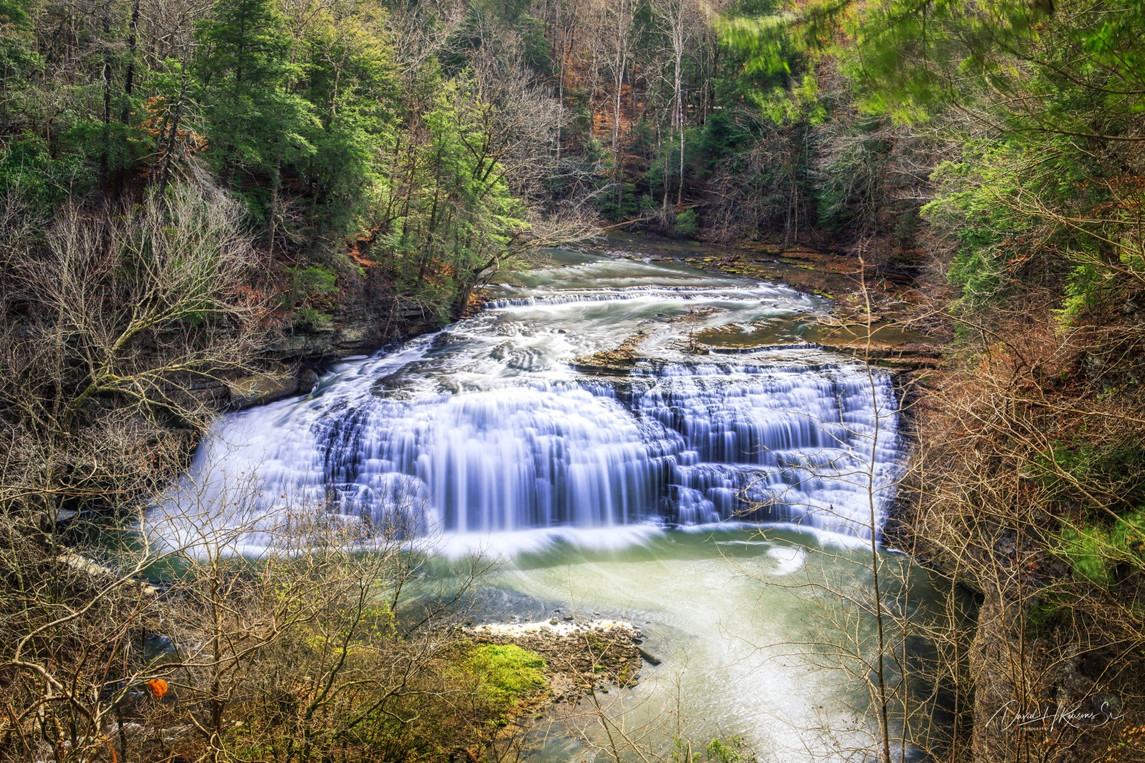 This falls is the largest upstream falls before Burgess Falls itself.